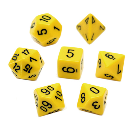 7 Yellow with Black Opaque Dice