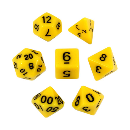 7 Yellow with Black Standard Dice
