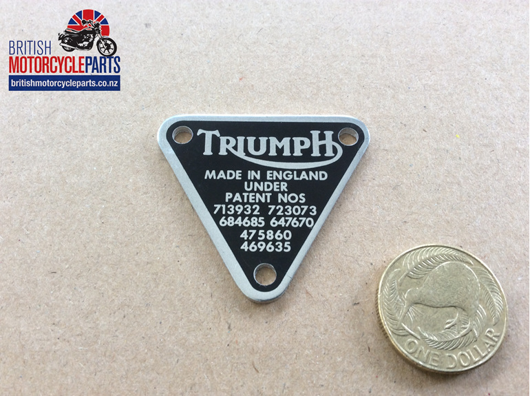 70-8762 Timing Cover Patent Plate Triples - British Motorcycle Parts Auckland NZ