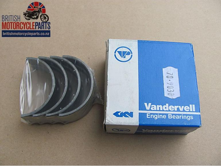 "70-9030 Main Bearing Shells Set -.040"" Vandervell - BSA A75 Triumph T150 T160"