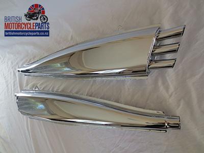 70-9036 Raygun Silencers - BSA Triumph Triples - Pair