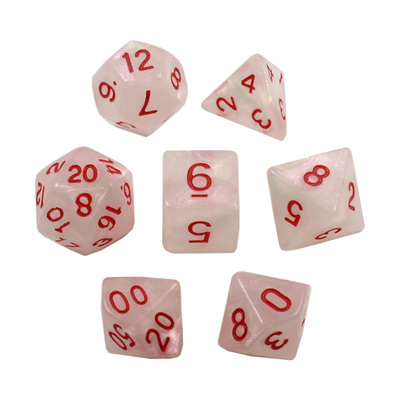 7 White with Red Marble Dice