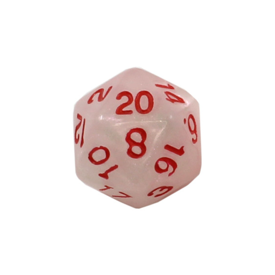 7White Marbled Polyhedral Dice with Red Numbers Games and Hobbies NZ