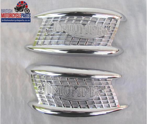 82-4127 82-4128 Tank Badges - Gate - Triumph 1957-65 - British MC Parts NZ