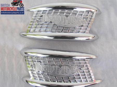 82-4127 82-4128 Tank Badges PAIR - Triumph 1957-65