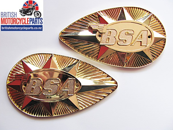 82-9695 82-9696 BSA A65 A75 Petrol Tank Badges - Gold - British Motorcycle Parts