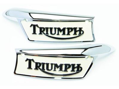 82-9700 82-9701 Triumph Tank Badges - Painted - Pair