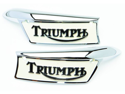 82-9700 82-9701 Triumph Tank Badges - Painted - Pair
