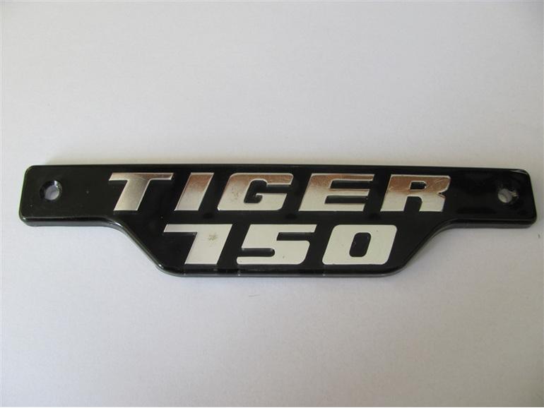 83-7334 Tiger 750 Side Cover Badge 1979 on Chrome on Black