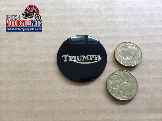 83-8656 Petrol Tank Centre Badge - Triumph T140 - Gold on Black - Auckland NZ