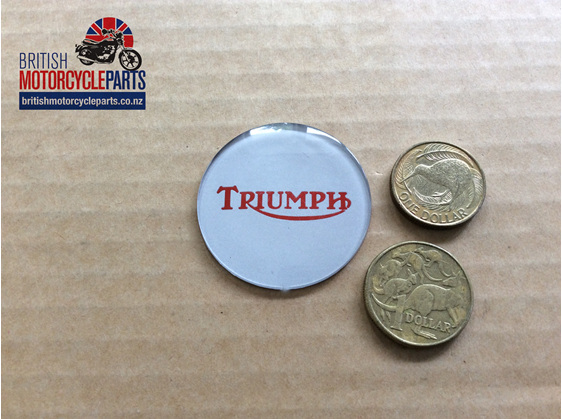 84-0026 - Triumph Petrol Tank Centre Badge T140 - Red on Silver - Auckland NZ