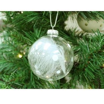 8cm Eva Feather Glass Ball Deco- White