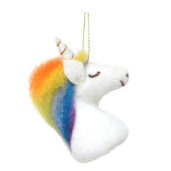 8cmh Xmas Wool Decoration-Unicorn Head