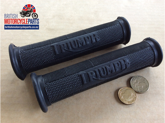 "97-0230 Handlebar Grips 1""  Triumph Pre-Unit Logo - British Motorcycle Parts NZ"
