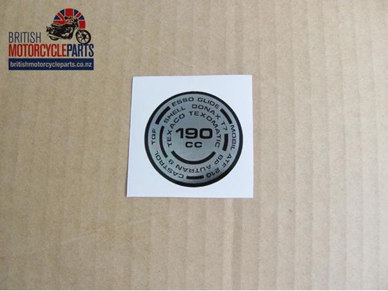 97-4259 190cc Fork Top Nut Sticker - Triumph T140 TR7 - British Motorcycle Spare