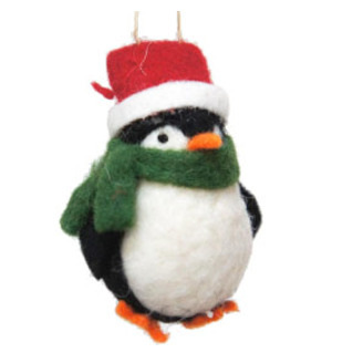 9cmh Xmas Wool Decoration-Penguin W/Hat