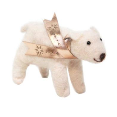 9cmh Xmas Wool Decoration-Polar Bear