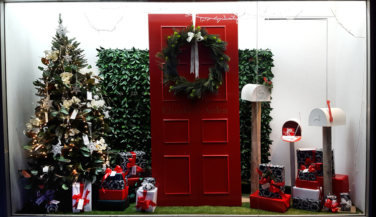 A traditional Christmas display of red, white and green