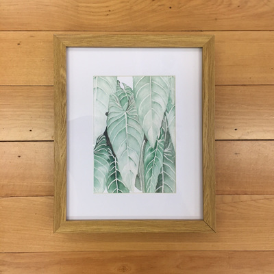 Drop Leaves Watercolour Print Framed