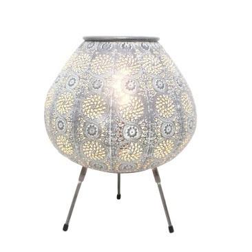 Aabida Pressed Metal Table Lamp - White Wash - 38x45.5cmh