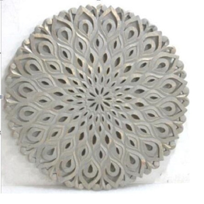 Aatun Carved Round Wall Decor Grey