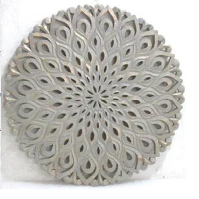 Aatun Carved Round Wall Decor Grey