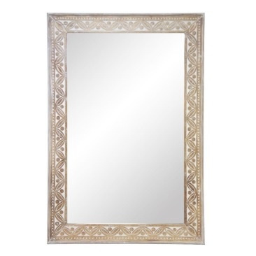 Abebe Wooden Carved Bevelled Mirror 100x150cmh
