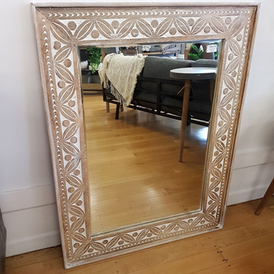 Abebe Wooden Carved Bevelled Mirror 80x105cmh