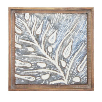 Abella Palm Metal Wall Art W Wood Frame