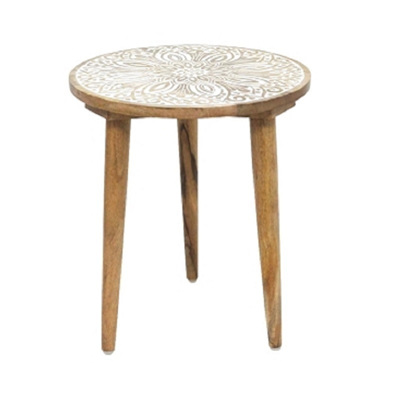 Abez Wooden Carved Table - Small
