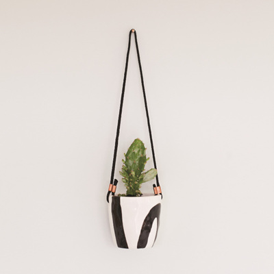 Abstract Hanging Cup - Black and White