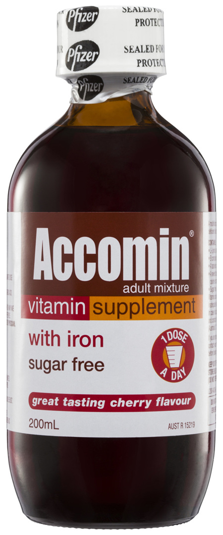 Accomin Adult Mixture Vitamin Supplement Cherry 200mL