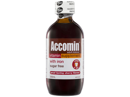 Accomin Adult Mixture Vitamin Supplement Cherry 200mL