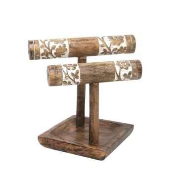 Achim 2 Tier Wooden Carved Bangle Holder 25cmh