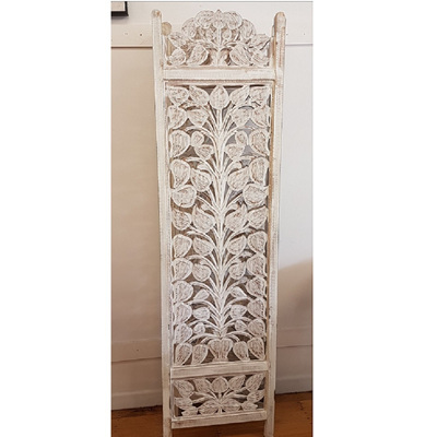 Achor 3 Panel Wood Screen White Wash
