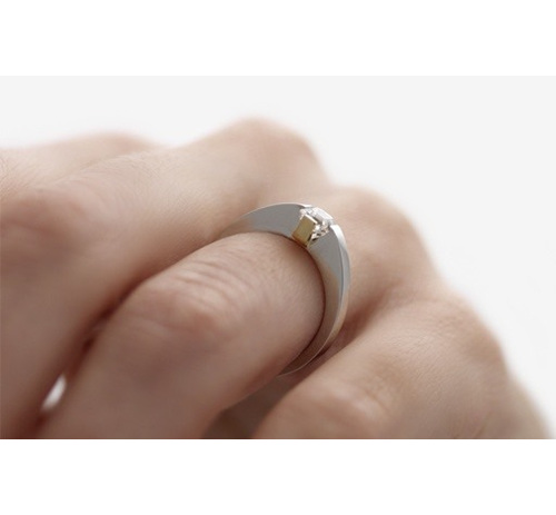 Adbridgd Assher Cut Diamond ring in platinum and 18ct yellow gold on hand
