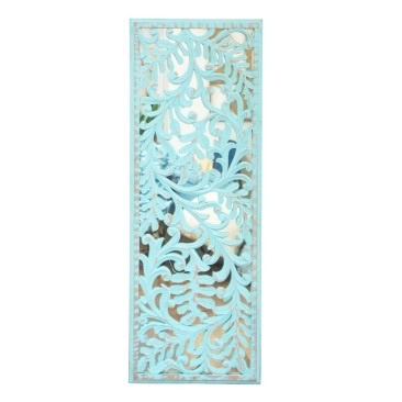 Ade Carved Wall Panel W Mirror- Turquoise Distress - 43x120cmh