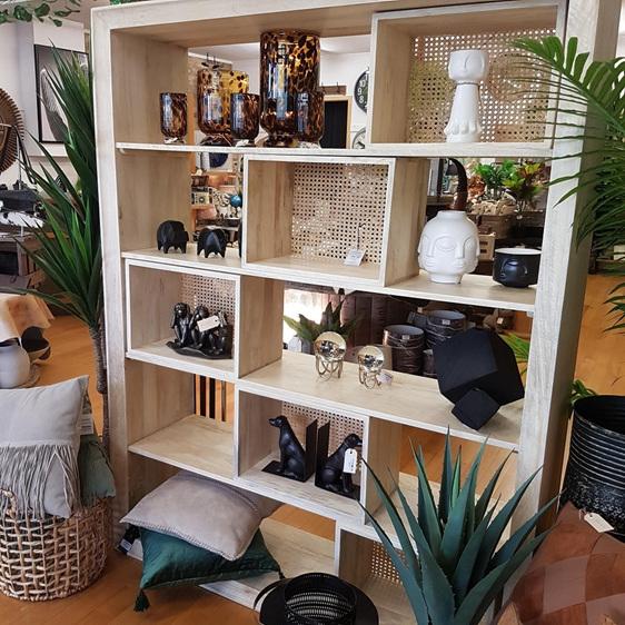 Adina Bookshelf w Moveable Cane Detail Boxes