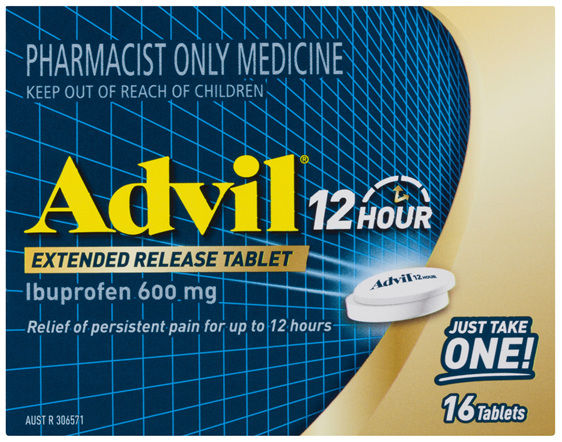 Advil 12 Hour Extended Release Tablets Ibuprofen 600mg 16 Tablets