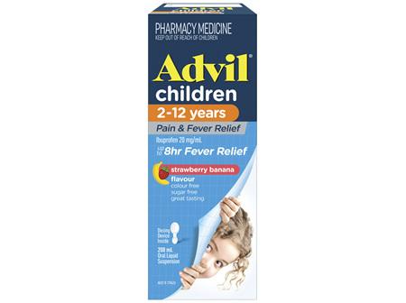 Advil Children 2-12 Years Pain & Fever Relief Banana 200mL