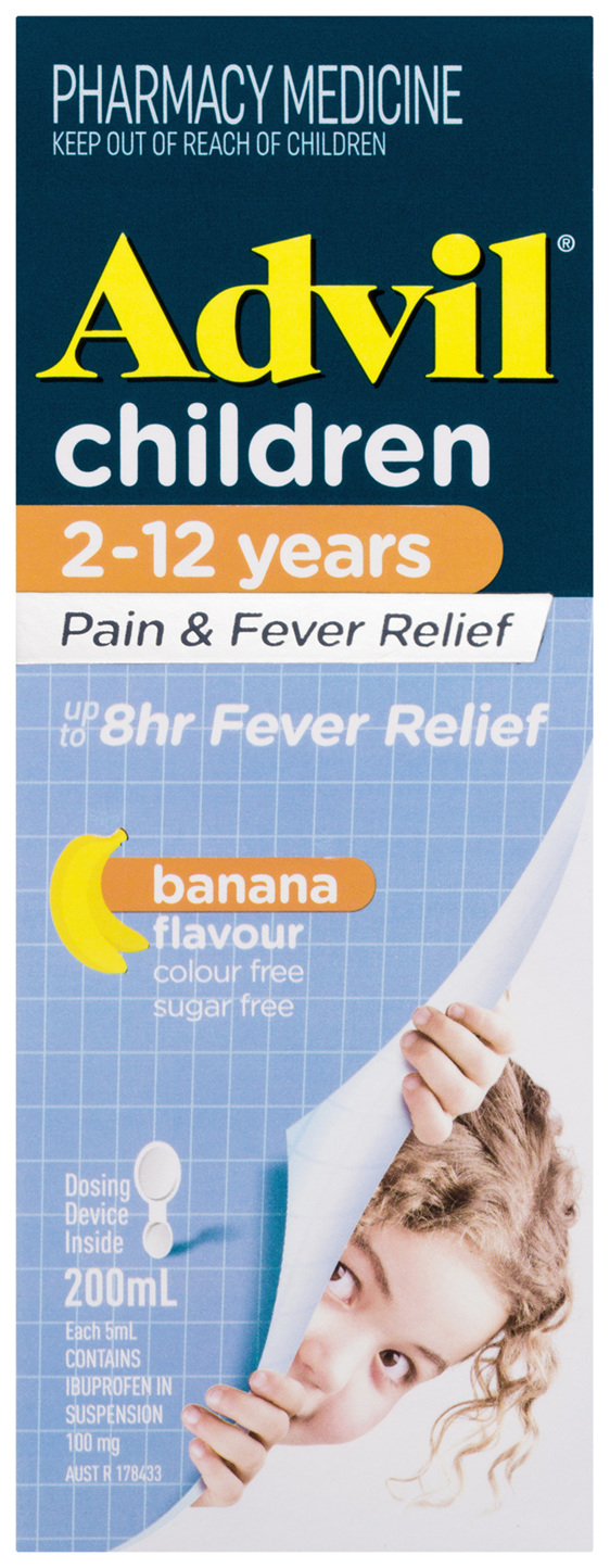 Advil Children 2-12 Years Pain & Fever Relief Banana 200mL