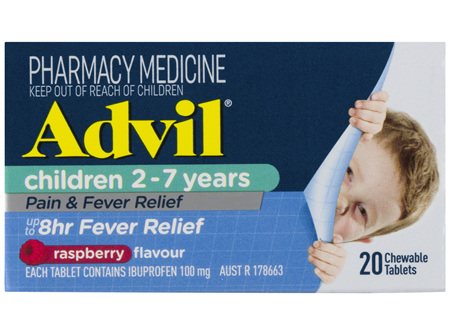 Advil Children 2-7 Years Chewable Raspberry 20 Tablets