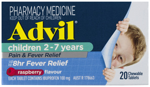Advil Children 2-7 Years Chewable Raspberry 20 Tablets