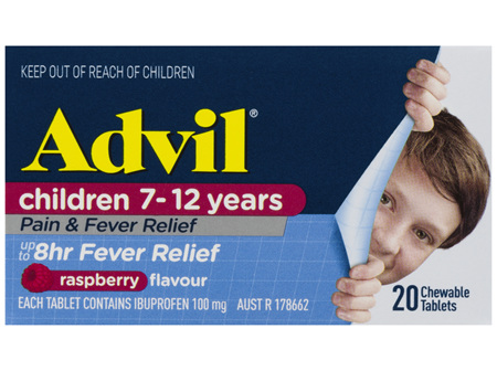 Advil Children 7-12 Years Chewable Raspberry 20 Tablets