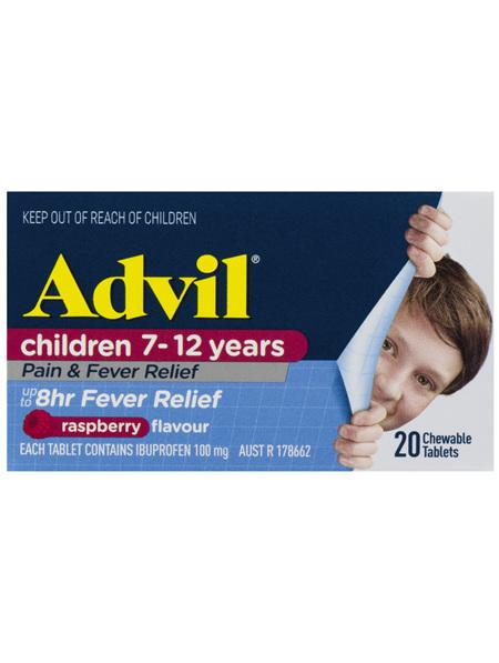 Advil Children 7-12 Years Chewable Raspberry 20 Tablets