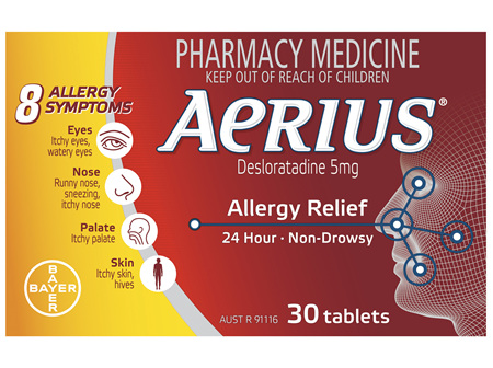 Aerius 24 Hour Non Drowsy Allergy Relief Antihistamine Tablets 30 Pack