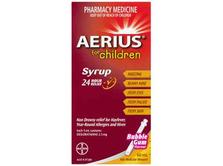 Aerius for Children Allergy Relief Antihistamine Bubblegum Syrup 60mL