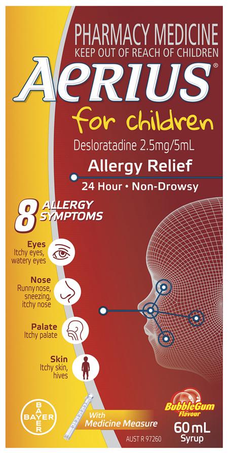 Aerius for Children Allergy Relief Antihistamine Bubblegum Syrup 60mL