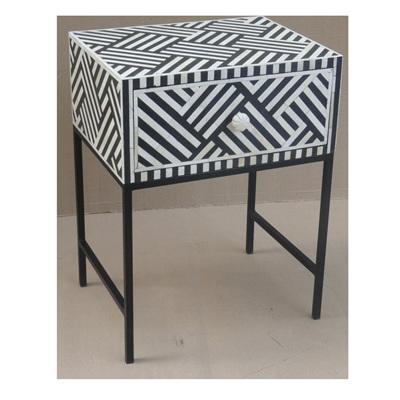 Afranz Bone Inlay 1 Drawer Bedside Table - Black - 60cmh