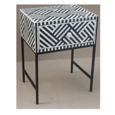 Afranz Bone Inlay 1 Drawer Bedside Table - Black - 60cmh